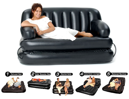 Air-o-Space 5-in-1 EZ Queen Size Inflatable Sofa Bed
